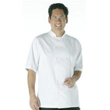 Vegas Chefs Jacket - Short Sleeve White Polycotton. Size: XXL (To fit chest 52 -